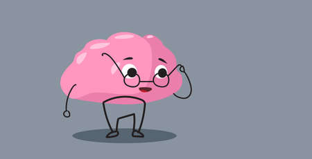 cute human brain organ pink cartoon character in round glasses education concept kawaii style horizontal vector illustration