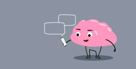 cute human brain organ using smartphone mobile app chat bubble online communication concept kawaii style pink cartoon character horizontal vector illustration