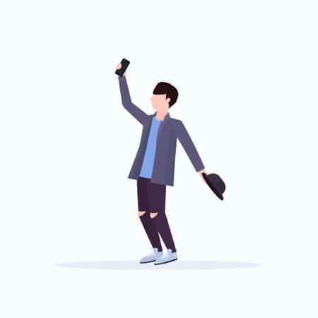 man taking selfie photo on smartphone camera casual male cartoon character holding hat posing white background flat full length vector illustration