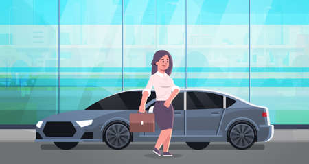 businesswoman standing near luxury car woman in formal wear holding suitcase going to work business concept flat full length horizontal vector illustration Vectores