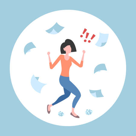 unsatisfied businesswoman throwing paper sheets angry emotional business woman conflict problem fail concept documents flying in air flat full length vector illustration