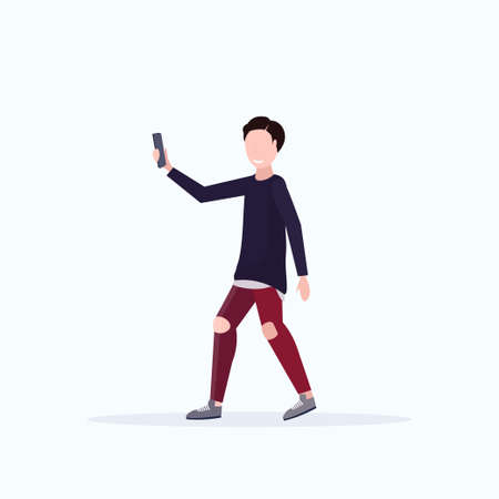 man taking selfie photo on smartphone camera casual male cartoon character posing white background flat full length vector illustration