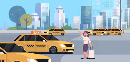 businesswoman catching taxi on street business woman in formal wear with luggage stopping yellow cab city transportation service concept cityscape background full length flat horizontal vector illustration