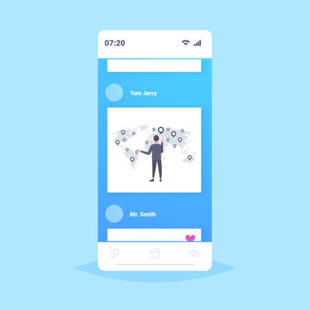 businessman pointing world man rear view business man choosing destination corporate globalization concept smartphone screen mobile application flat full length vector illustration