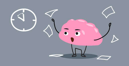 angry human brain organ throwing pader documents deadline stress concept kawaii style pink cartoon character horizontal vector illustration