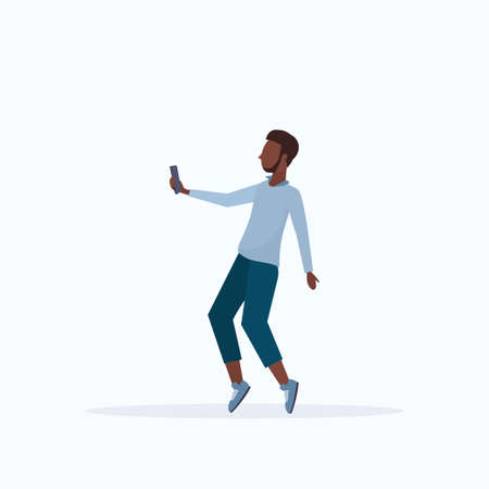 man taking selfie photo on smartphone camera african american male cartoon character posing white background flat full length vector illustration