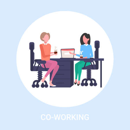 couple businesswomen colleagues discussing during coffee break business women sitting at workplace communication concept flat full length vector illustration