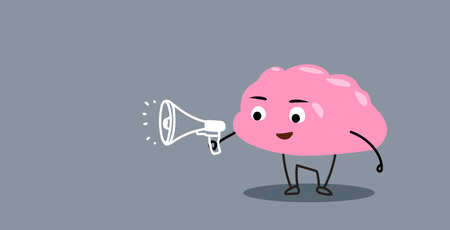 cute human brain organ holding megaphone loudspeaker announcement promotion concept kawaii style pink cartoon character horizontal vector illustration 向量圖像