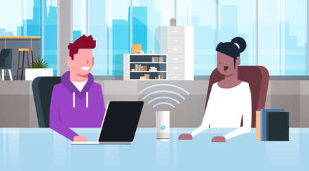mix race people sitting at workplace desk man woman using intelligent smart speaker with voice recognition artificial intelligence assistance concept modern office interior flat horizontal portrait vector illustration