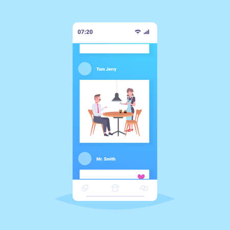 waitress taking order from businessman visitor cafe worker in apron serving drinks to man having break coffee point concept smartphone screen mobile app flat full length vector illustration