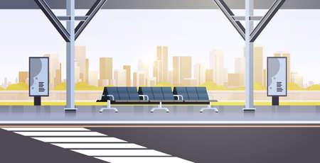 moderne bushaltestelle leer keine menschen flughafen öffentlicher verkehr station stadtbild hintergrund flache horizontale vektorillustration
