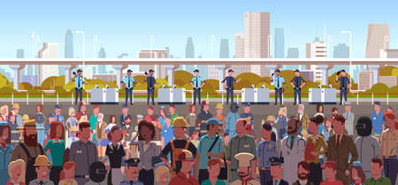 mix race police officers group controlling different occupations people crowd at protest demonstration strike labor day concept city street cityscape background horizontal portrait vector illustration