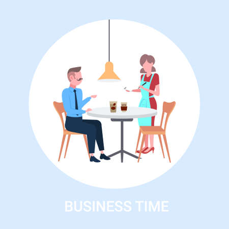waitress taking order from businessman visitor cafe worker in apron serving drinks to man having coffee break business time concept flat full length vector illustration 일러스트
