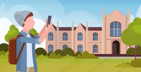 man taking selfie photo on smartphone camera casual male cartoon character in hat with backpack over university building exterior flat portrait horizontal vector illustration