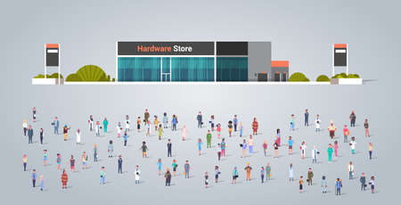 people group in front of hardware store building different occupation employees mix race workers crowd building concept horizontal full length flat vector illustration