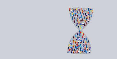 big crowd of businesspeople in hourglass shape business people standing together deadline time management concept horizontal vector illustration Ilustração