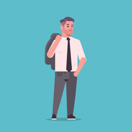 businessman in formal wear holding jacket on shoulders standing pose smiling male cartoon character business man office worker flat full length vector illustration