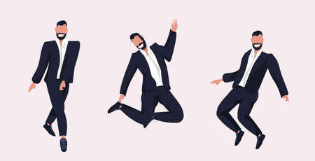 businessmen standing different poses smiling business men in formal wear posing male cartoon characters collection flat full length horizontal vector illustration 向量圖像