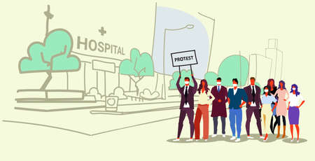 businesspeople group holding protest placard signboard people crowd standing together demonstration concept hospital building exterior cityscape background sketch doodle horizontal full length vector illustration