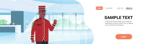 happy bellman male worker in uniform hotel service concept modern reception area lobby interior african american cartoon character portrait copy space horizontal flat vector illustration 일러스트