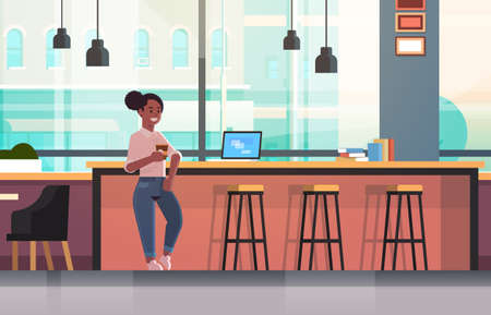 businesswoman sitting on chair at bar counter with laptop coffee break concept african american business woman drinking cappuccino modern cafe interior flat full length horizontal vector illustration