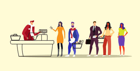 people customers with groceries standing line queue to male cashier at cash desk in grocery shop or supermarket shopping concept sketch doodle horizontal full length vector illustration Illustration