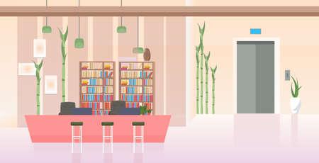 vacío, ningún pueblo, moderno, oficina, pasillo, con, mostrador, vestíbulo, contemporáneo, interior, plano, horizontal, vector, ilustración Ilustración de vector