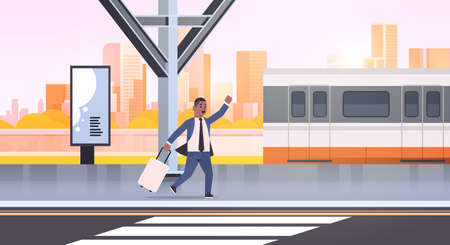 businessman running to catch train african american business man with luggage on railway station city public transport male cartoon character cityscape background full length horizontal vector illustration