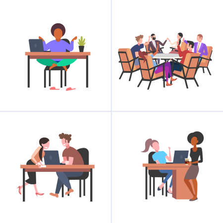 set colleagues working process mix race businesspeople various business corporate situation concepts collection flat full length vector illustration