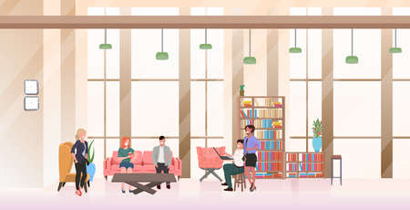 mix race businesspeople talking working together business pople brainstorming during meeting in lobby creative co-working center office interior flat horizontal full length vector illustration