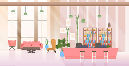 empty no people waiting area and reception hall creative office interior flat horizontal vector illustration