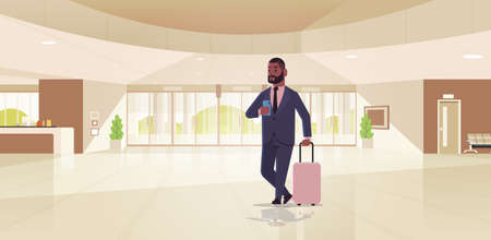 businessman with luggage modern reception area african american business man holding suitcase guy standing in lobby contemporary hotel hall interior flat horizontal full length vector illustration