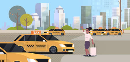businesswoman catching taxi on street african american business woman with luggage stopping yellow cab city transportation service concept cityscape background full length flat horizontal vector illustration