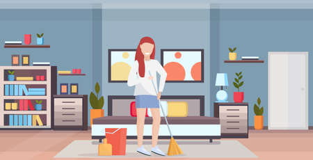 housewife holding broom woman cleaner doing housework sweeping floor cleaning housekeeping concept full length flat modern bedroom interior horizontal vector illustration Stock Illustratie