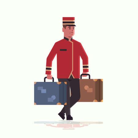 boy hotelowy niosący walizki koncepcja usługi boy hotelowy trzymający bagaż mężczyzna pracownik hotelu w mundurze pełnej długości płaskiej ilustracji wektorowych