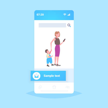 business woman using cellphone while walking with little child son want attention from mother smartphone addiction concept online mobile application flat full length vector illustration