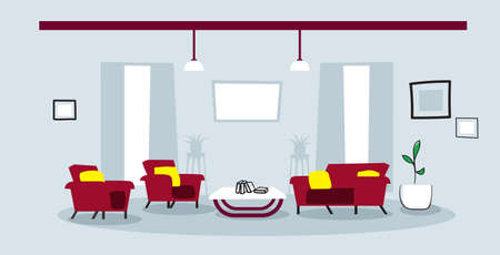 creative lounge area with couch and armchair empty no people modern office or living room interior sketch doodle horizontal vector illustration