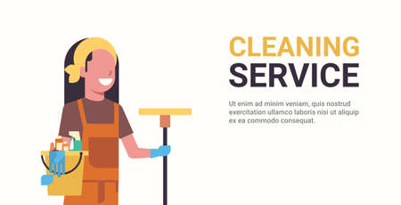 woman janitor holding bucket with tools and mop cleaning service concept smiling female worker portrait horizontal copy space flat vector illustration