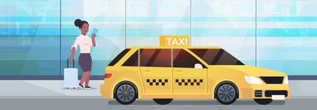 businesswoman using mobile app ordering taxi on street african american business woman in formal wear with luggage near yellow cab city transportation service concept full length horizontal vector illustration