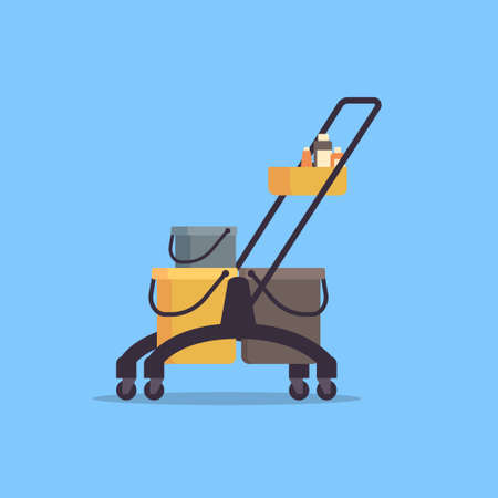cleaning service trolley cart with supplies janitor company concept flat vector illustration