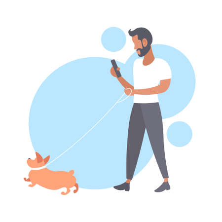 casual man walking with dog bearded guy using smartphone male person having fun with his animal pet best friend concept flat full length vector illustration