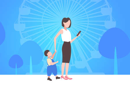 business woman using cellphone while walking with little child son want attention from mother smartphone addiction concept city urban park ferris wheel background horizontal flat full length vector illustration