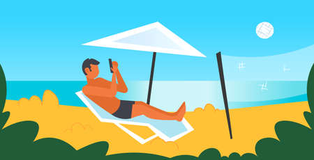 man sunbathing on beach guy in swimwear using smartphone lying on sun lounger under umbrella summer vacation concept seaside background male character full length flat horizontal vector illustration