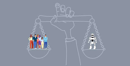hand holding balance scales human vs robot competition concept artificial intelligence digital technology sketch doodle horizontal vector illustration