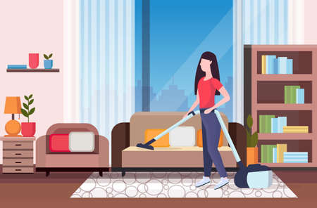 housewife using vacuum cleaner girl vacuuming couch doing housework housekeeping cleaning service concept modern living room interior full length flat horizontal vector illustration