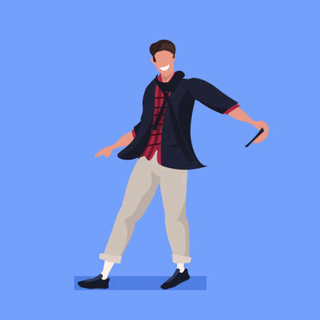 man taking selfie photo on smartphone camera casual male cartoon character posing blue background flat full length vector illustration