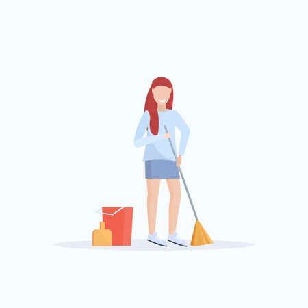 female housewife holding broom woman cleaner sweeping floor cleaning service housekeeping concept full length flat white background vector illustration Stock Illustratie