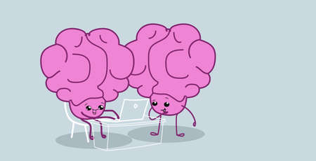 human brains couple sitting at workplace using laptop brainstorming successfull teamwork concept pink cartoon characters kawaii style horizontal vector illustration