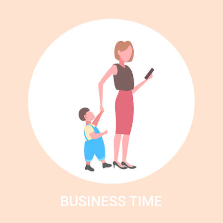 business woman using cellphone while walking with little child son want attention from mother smartphone addiction concept flat full length vector illustration