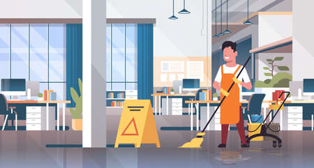 man mopping floor male cleaner janitor in uniform cleaning service concept trolley cart with supplies creative co-working center office interior flat full length horizontal vector illustration